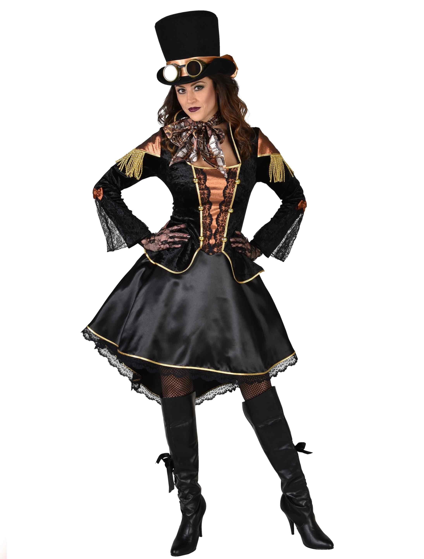 Damen-Kostuem Kleid Steampunk Damen schwarz XL Grosse: XL