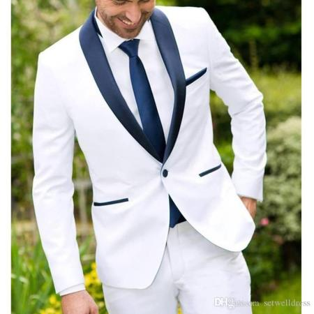 Mens White and Navy Blue Tuxedo Jacket & Pants & Vest 199