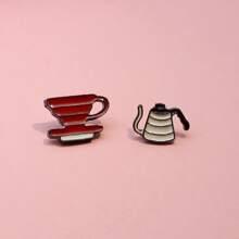2 Stuecke Brosche mit Tasse & Topf Design