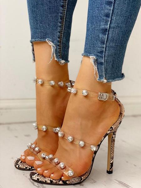 Milanoo Tacones claros Vestido de mujer Sandalias Tacon de aguja Diamantes de imitacion Correa de tobillo Tallas grandes Zapatos transparentes