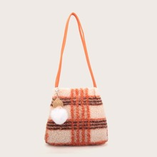 Faux Shearling Plaid Tote Bag