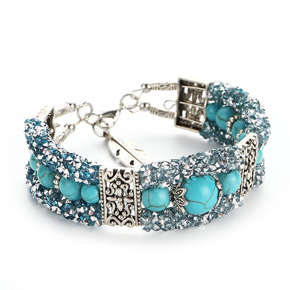 Fashion Colorful Rhinestones Beads Bracelets Vintage Turquoise Bangle Bracelet Gift for Women