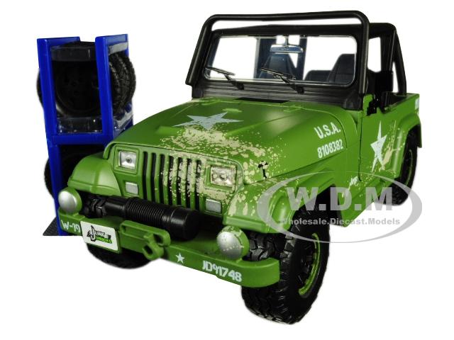 1992 Jeep Wrangler Matt Army Green with Extra Wheels