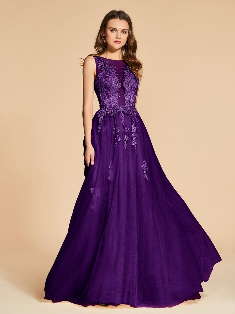 Ericdress A Line Applique Beaded Backless Evening Dress