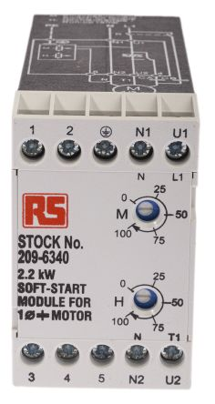 RS PRO Single Phase Soft Starter - 12 A Current Rating, 2.2 kW Power Rating, 230 V ac Supply Voltage