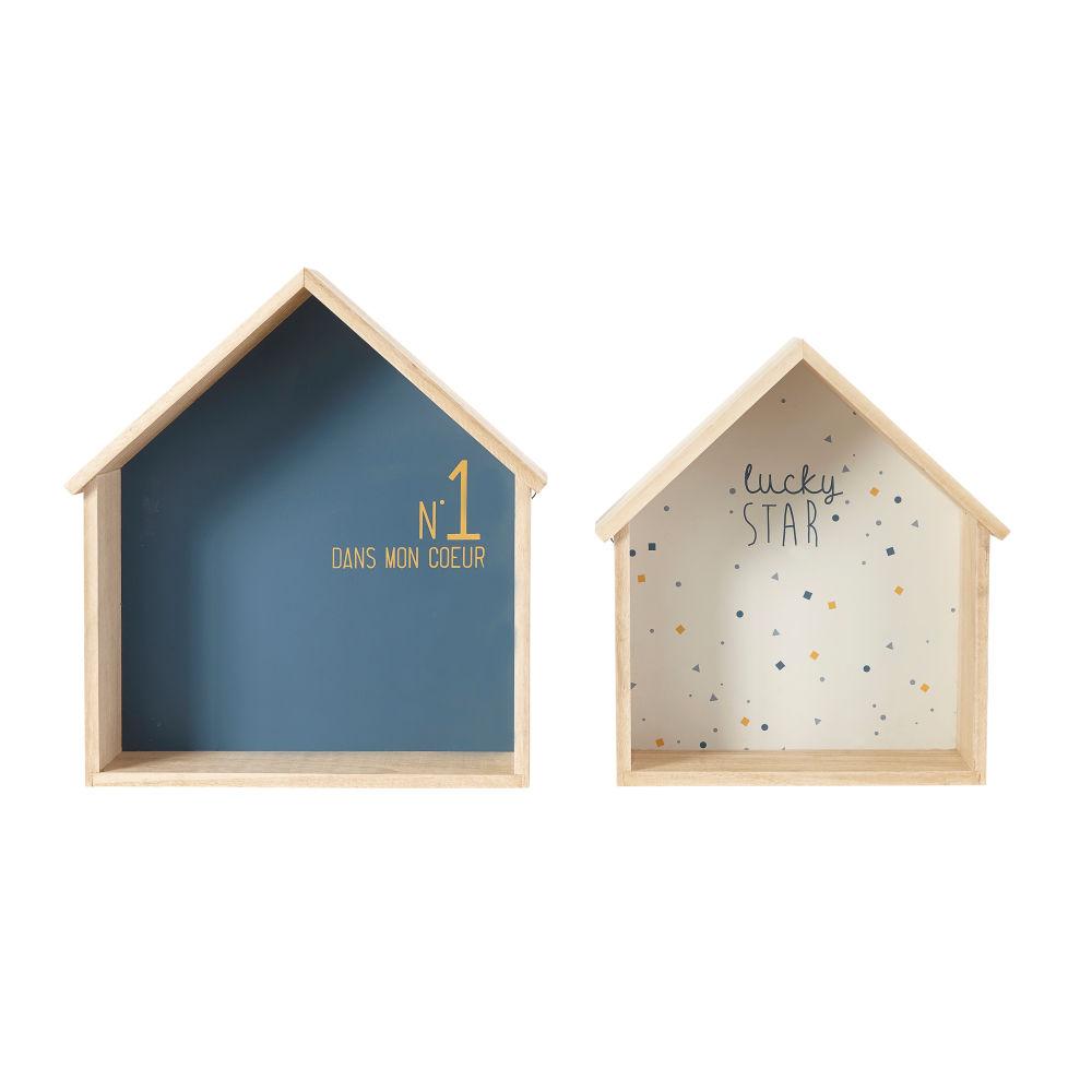 Hausformige Regale, blau und weiss (x2)