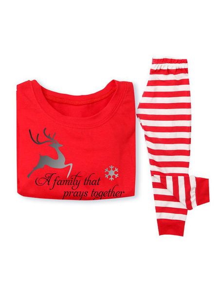 Milanoo Family Christmas Pajamas Kids Red Striped Printed Top And Pants 2 Piece Set For Children