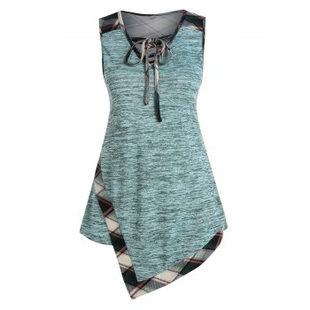 Lace Up Plaid Panel Asymmetrical Tank Top