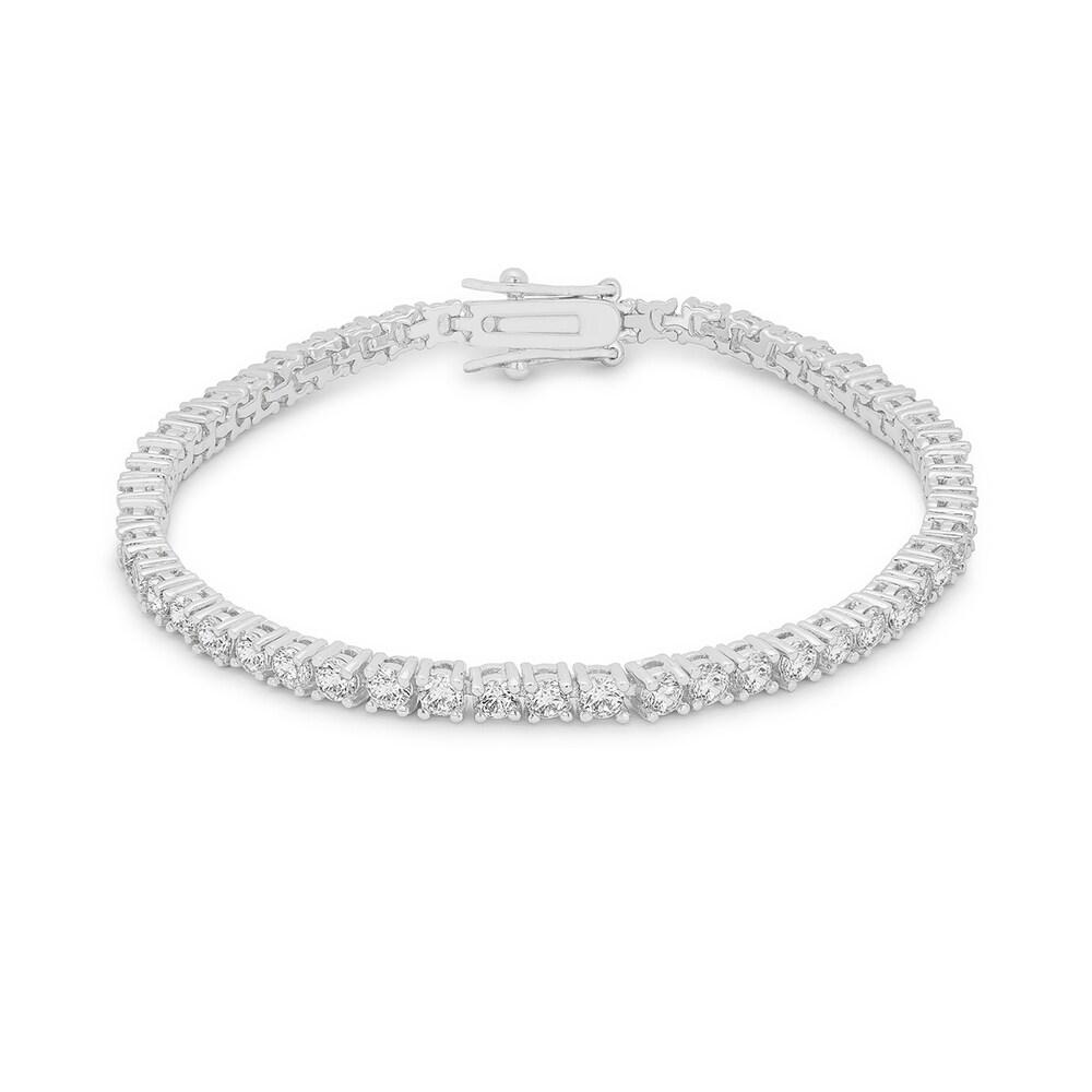 Kate Bissett Silvertone Round Cubic Zirconia 7-inch Tennis Bracelet (Bracelet)