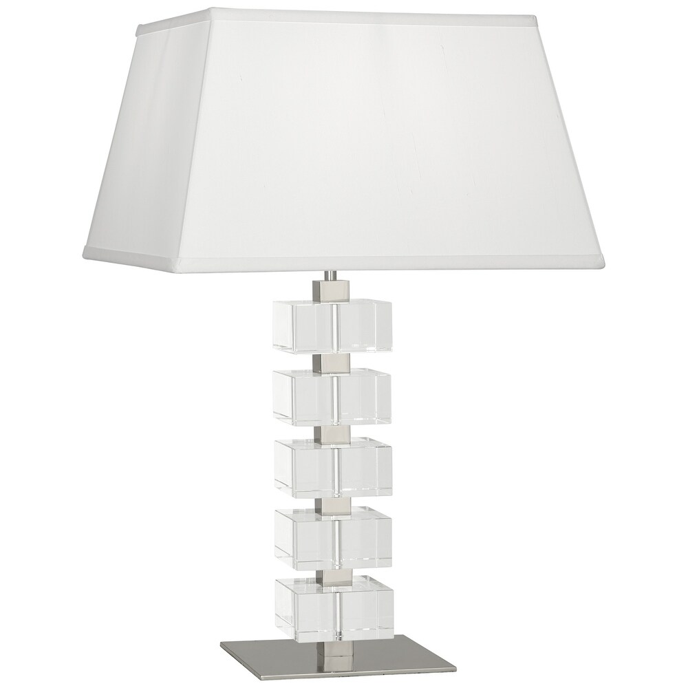 Robert Abbey 175 One Light Table Lamp Jonathan Adler Monaco Polished Nickel/Clear Crystal Blocks - One Size (One Size - Clear)
