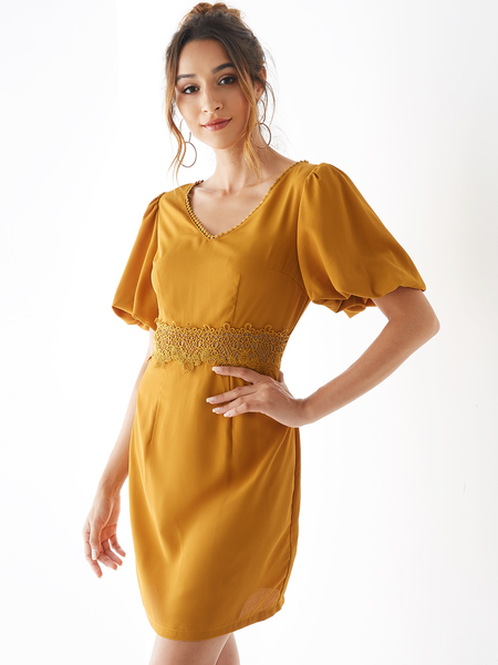 YOINS Yellow Crochet Lace Embellished V neck Puff Sleeves Dress