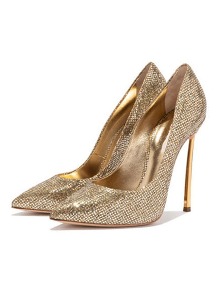 Milanoo Gold Prom Shoes Sparkly High Heels Pointed Toe Basic Pumps