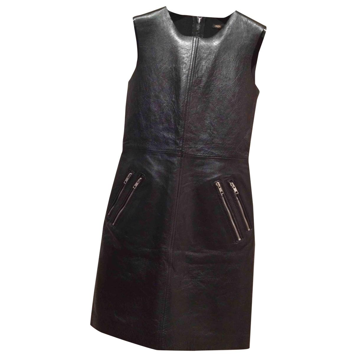 Maje \N Kleid in  Schwarz Leder