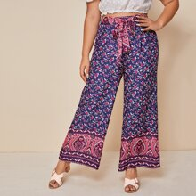 Plus Floral And Tribal Print Pants With Belt