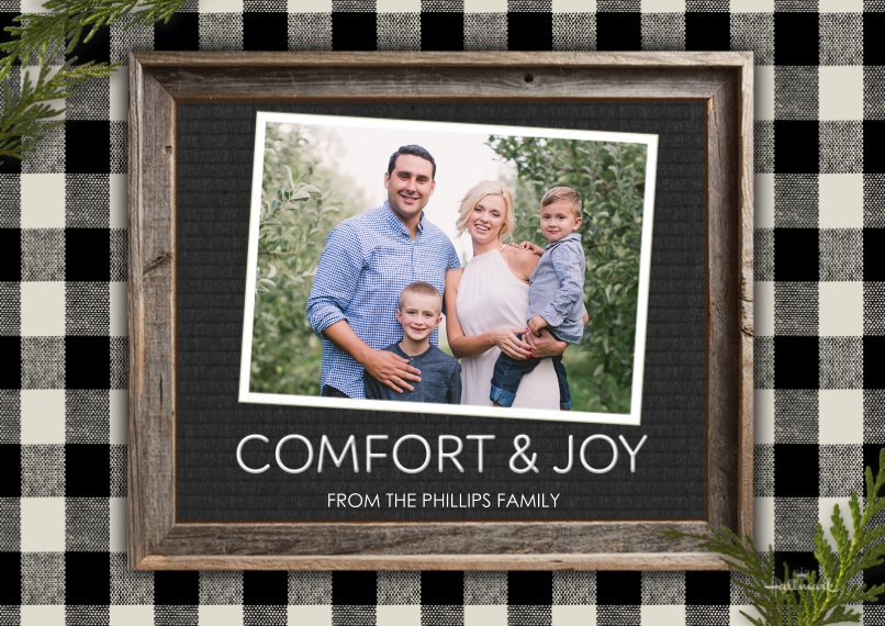 Christmas Photo Cards 5x7 Cards, Premium Cardstock 120lb with Scalloped Corners, Card & Stationery -Comfort & Joy Letter Board