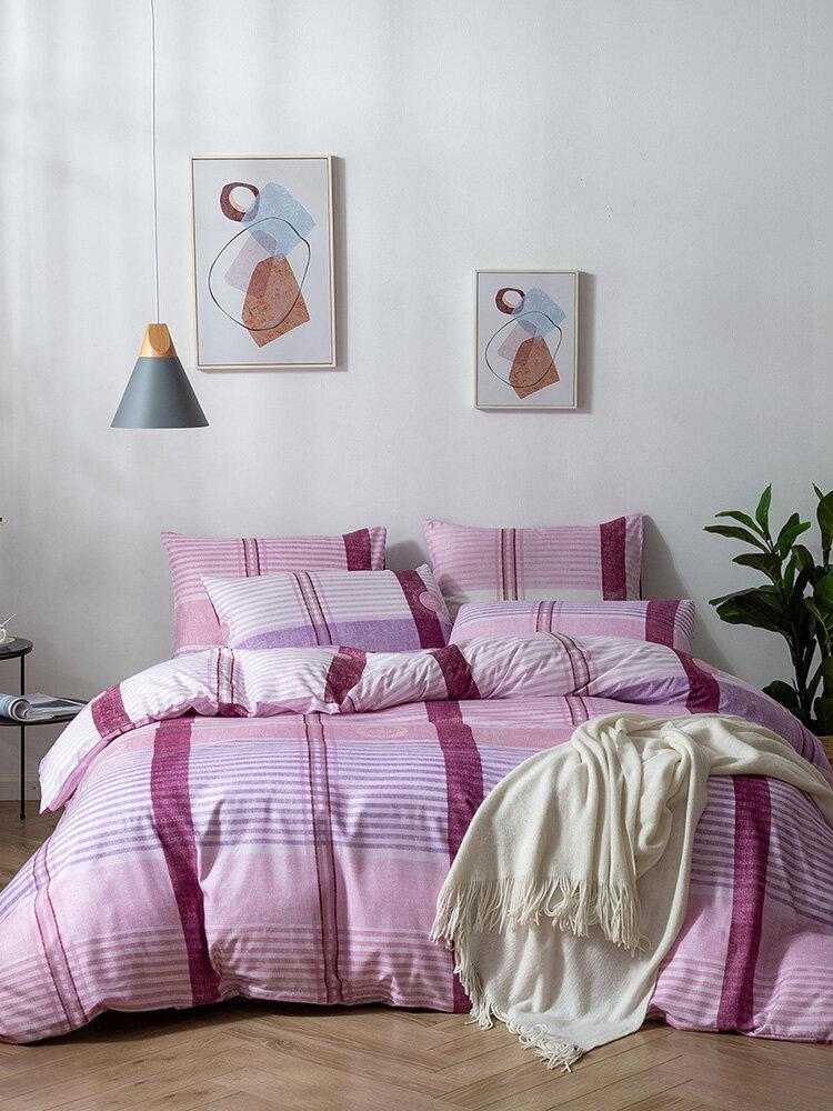 2/3Pcs Contrast Color Stripes Plaid Duvet Cover Set Pillowcase Adults Bed Duvet Set Twin King