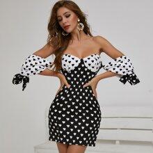 Bustier Kleid mit Knoten und Herzen Muster