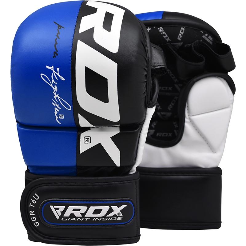RDX T6 Guantes de Grappling MMA Cuero PU Azul Extra Grande