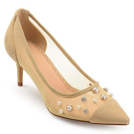 Journee Collection Womens Breck Pumps Stiletto Heel, 7 1/2 Medium, Beige