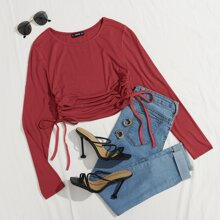 Ruched Drawstring Side Solid Tee