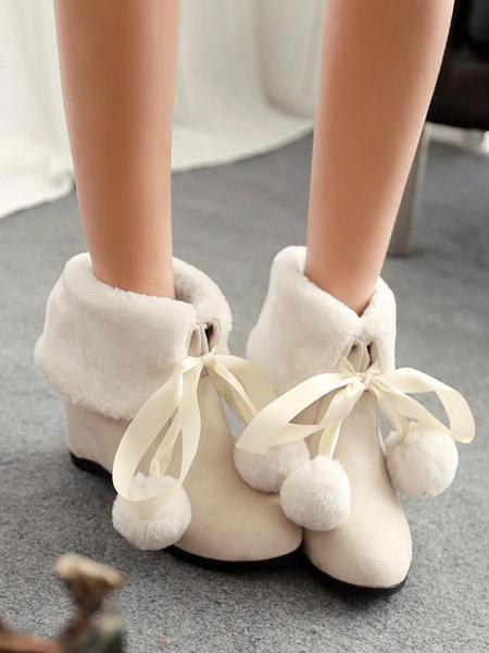 Milanoo Sweet Lolita Boots Furry Pom Pom Suede Lolita Shoes