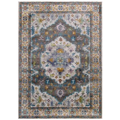 Success Collection R-1163A-810 Anisah Distressed Floral Persian Medallion 8x10 Area Rug in Grey  Ivory  Yellow  Orange