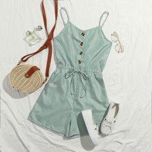Cami Romper mit Knopfen vorn, Taillenband und Streifen