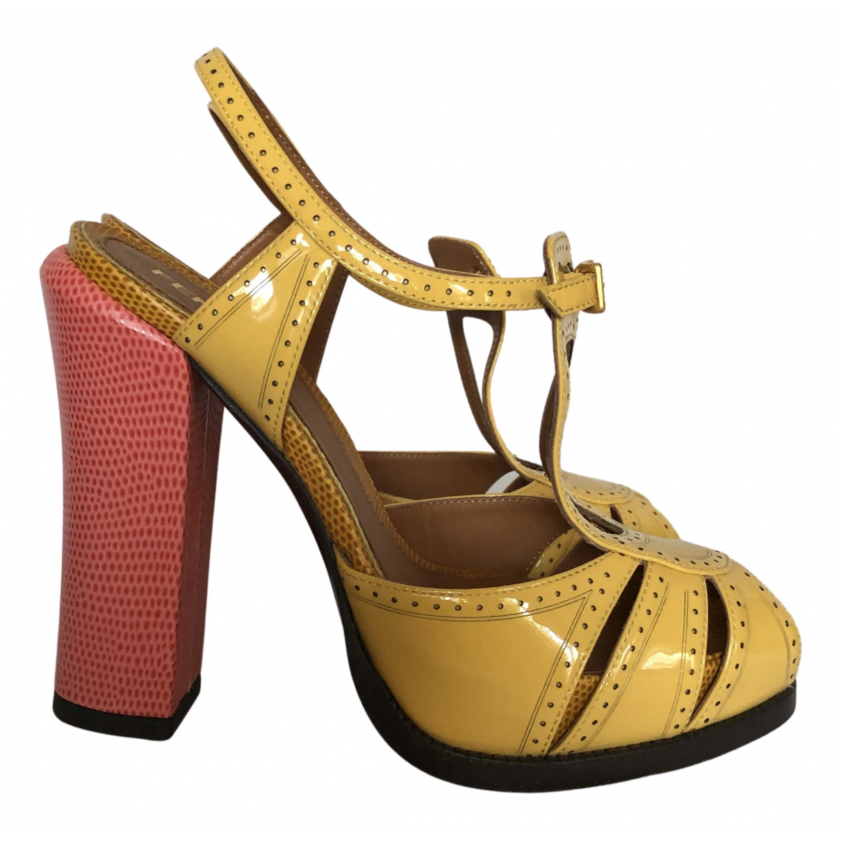 Fendi N Yellow Patent leather Sandals for Women 35 IT