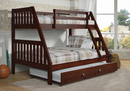 1018-3TFCP_503-CP Twin/Full Mission Bunk Bed W/Twin Trundle Bed in Dark Cappuccino