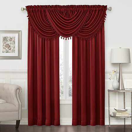 JCPenney Home Hilton Rod-Pocket Waterfall Valance, One Size , Red