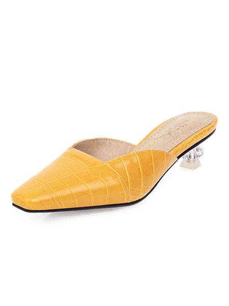 Milanoo Sandalias de tacon bajo para mujer Sandalias de tacon bajo con punta cuadrada de color amarillo claro