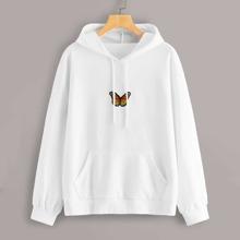 Sweatshirt mit Schmetterling Flicken und Kordelzug