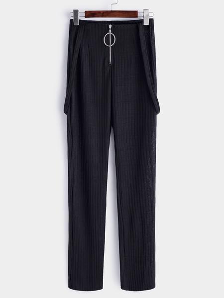 Yoins Black Zipper Design Wide Leg Bib Pants