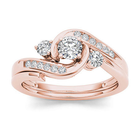 1/2 CT. T.W. Diamond 10K Rose Gold 3-Stone Bypass Ring Set, 9 , No Color Family