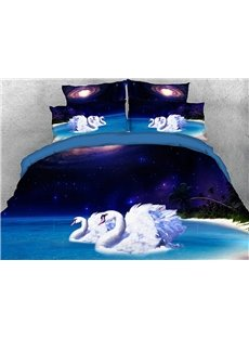 Vivilinen 3D Swans Night Beach Galaxy Scenery Cotton 4-Piece Bedding Sets/Duvet Covers