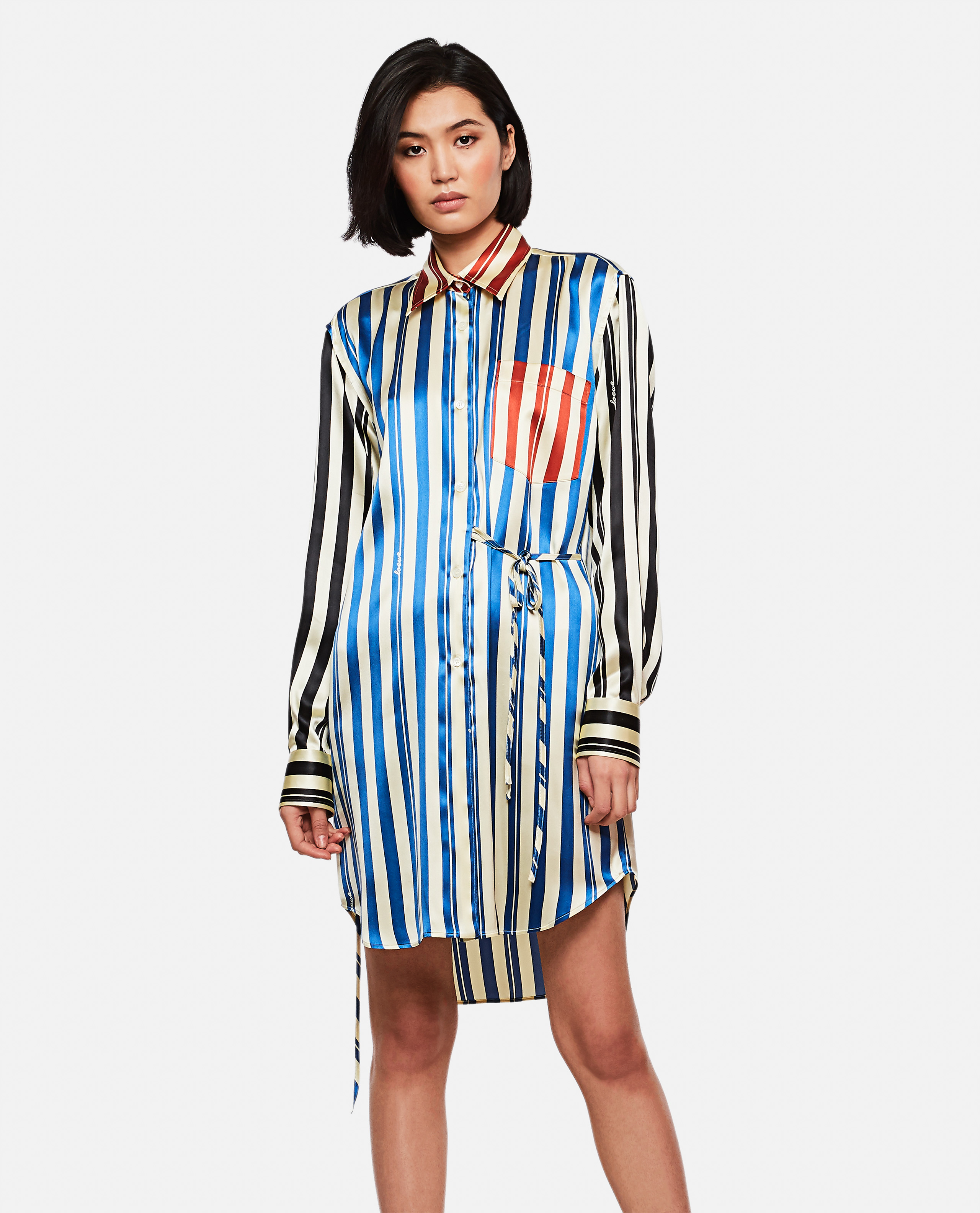 Multicolor wrap striped shirt