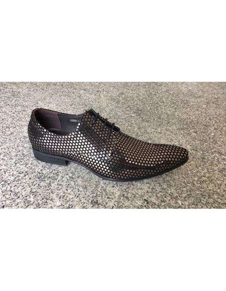Mens Silver ~ Black Man Made Texture Dot Pattern Lace Up Footwear