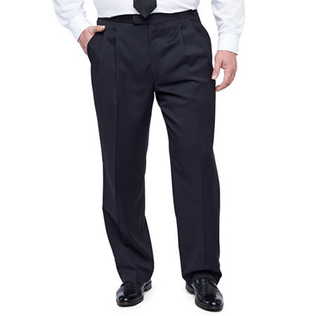 Stafford Pleated Tuxedo Pants-Big & Tall, 52 29, Black