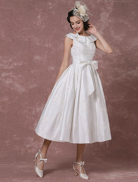 Milanoo Vintage Wedding Dress Satin Short Bridal Gown Lace Beading Tea Length Reception Bridal Dress Detachable Bow Sash