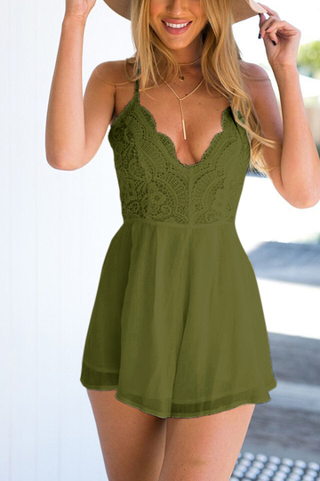 Yoins Army Green Semi Sheer Sleeveless Open Back Elastic Waist Playsuit with Lace Details