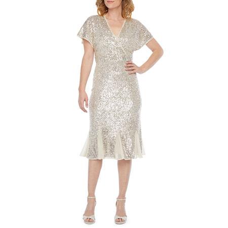 R & M Richards Short Sleeve Sequin Sheath Dress, 14 , Beige