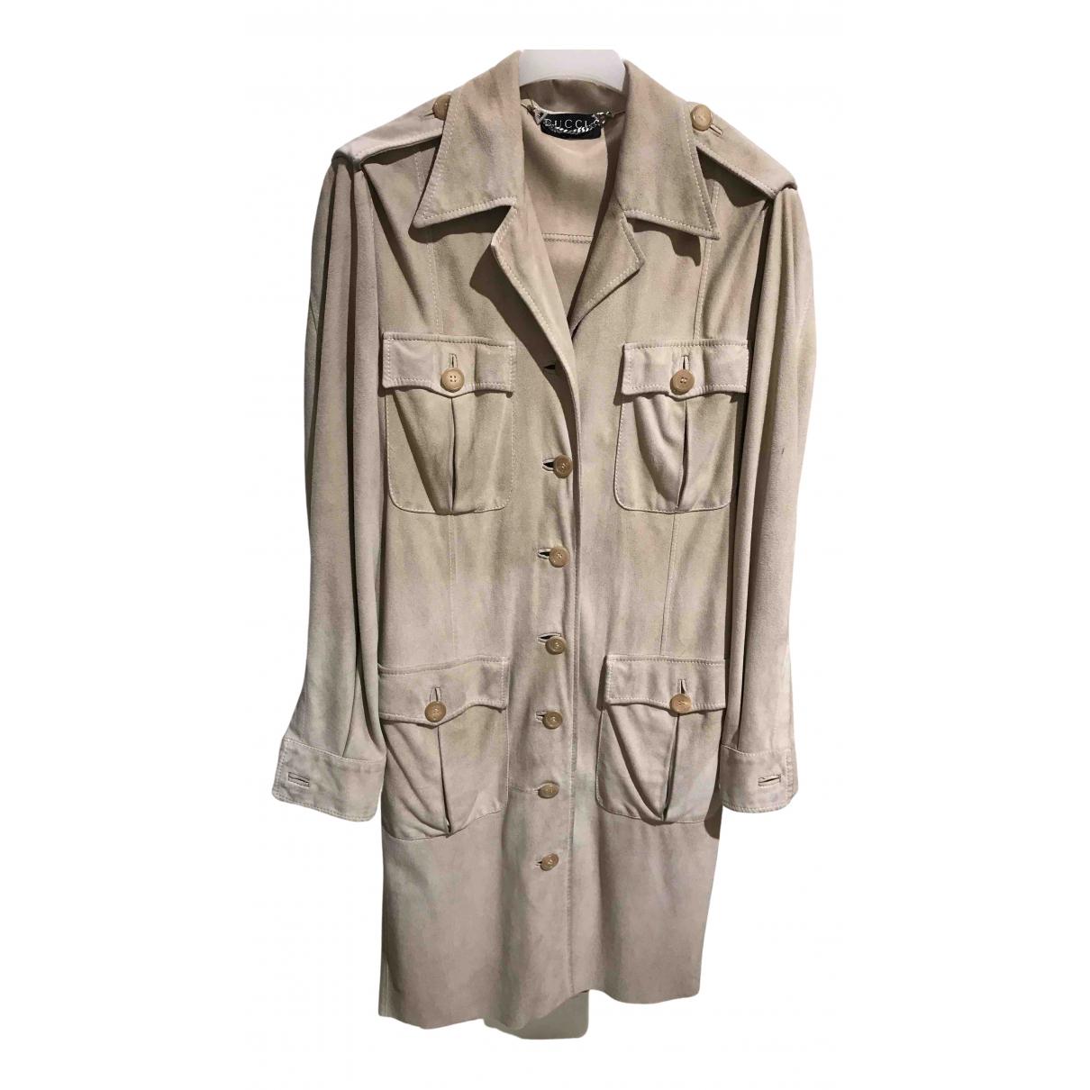 Gucci N Beige Suede coat for Women 42 IT
