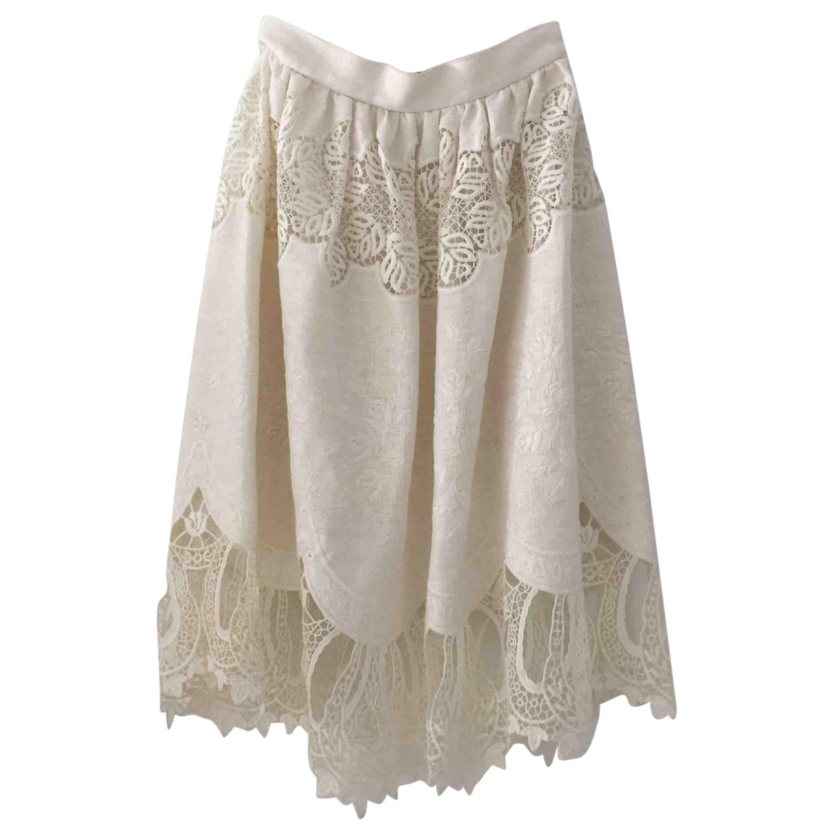 Dolce & Gabbana - Jupe   pour femme en coton - elasthane - ecru