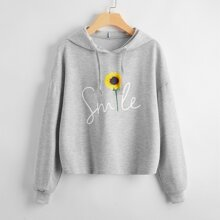 Letter And Sunflower Print Drawstring Hoodie