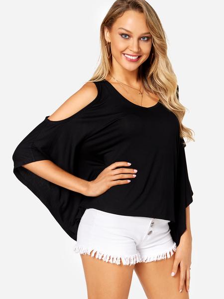 Yoins Black Bat Sleeves Cold Shoulder Fashion Blouse