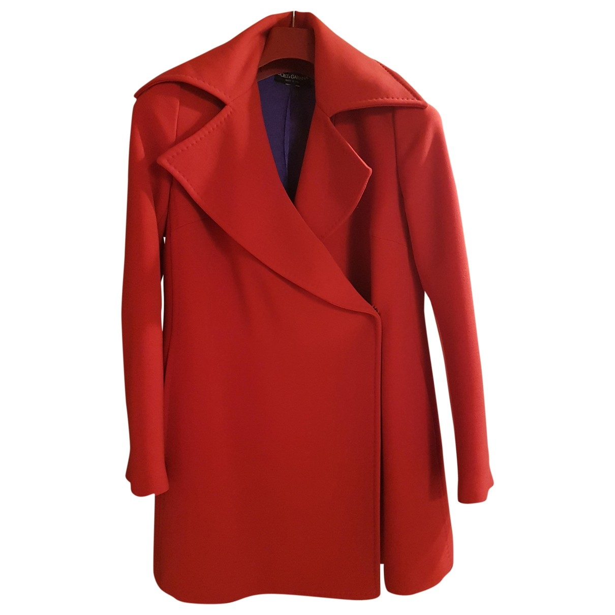 Dolce & Gabbana - Manteau   pour femme en laine - rouge