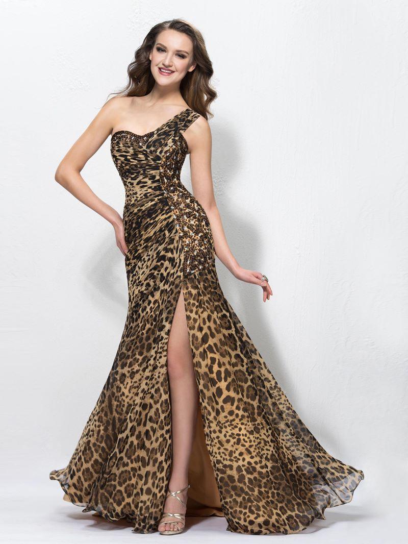Ericdress One Shoulder Split-Front Leopard Print Evening Dress