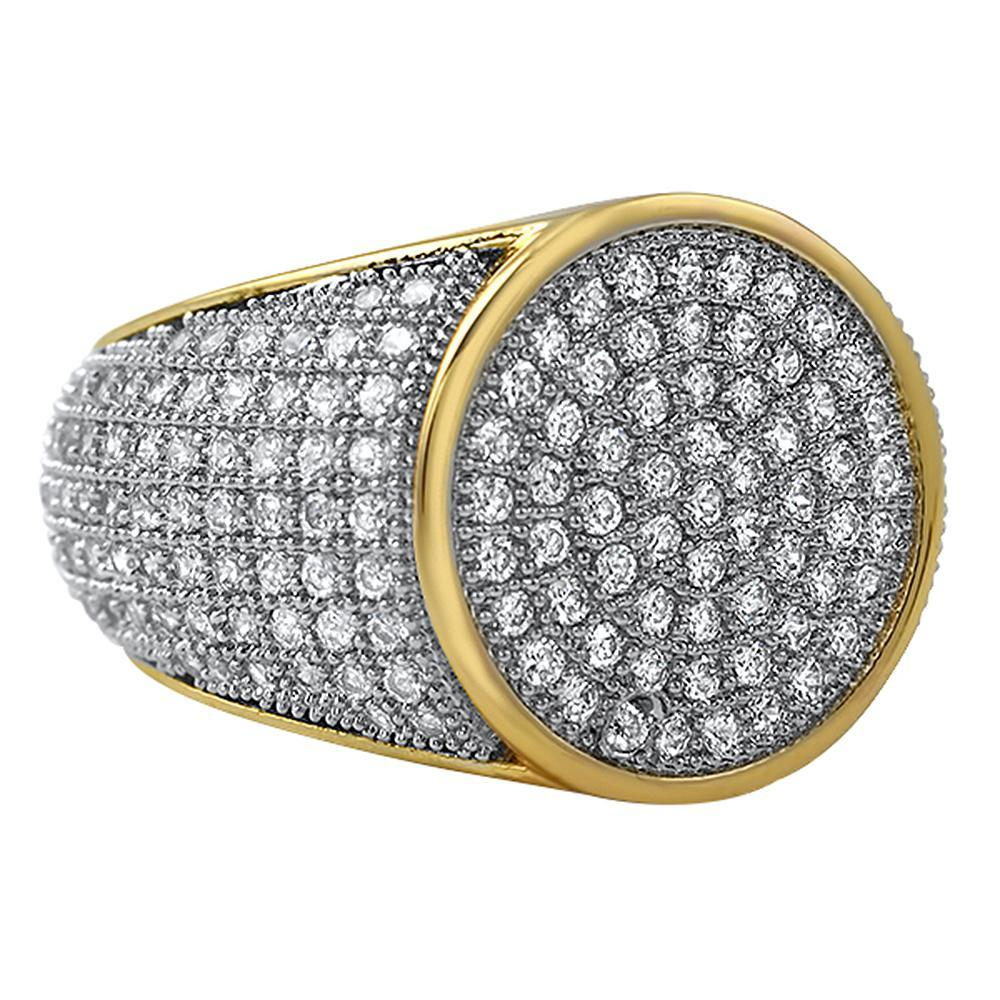 Round Gold CZ Micro Pave Bling Ring