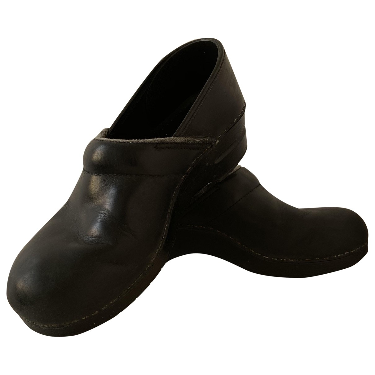 Non Signé / Unsigned \N Black Leather Mules & Clogs for Women 41 EU
