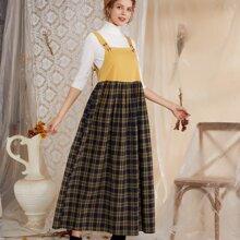 Kleid mit Karo Muster und Knopfen ohne Pullover